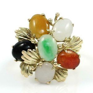 Solid 14K Yellow Gold Multi Color Jade Flower Ring